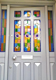 Bespoke door makes based in Nottingham l Old English Doors Stained Glass Window Film, Stained Glass Door, Stained Glass Panels, Wooden Front Doors, Glass Front Door, Edwardian House, Door Furniture, Old English, Panel Doors