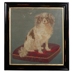 Century Needle Point of a King Charles in an Ebonized frame with a Gilded Filet Modern Tapestries, Needlepoint Kits, King Charles, Mans Best Friend, Art Images, Art For Sale, 19th Century, North America, Folk Art