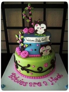 Owl Cake by amylexi on CakeCentral.com (intended for a baby shower...but I like the owl theme for a slumber party).