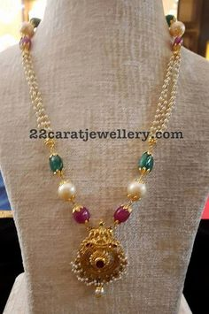 Pearls Beads Set with Lakshmi Pendant - Jewellery Designs Pearl Necklace Designs, Pearl Jewelry, Indian Jewelry, Pendant Jewelry, Beaded Jewelry, Silver Jewelry, Beaded Necklace, Gold Necklace, Quartz Jewelry