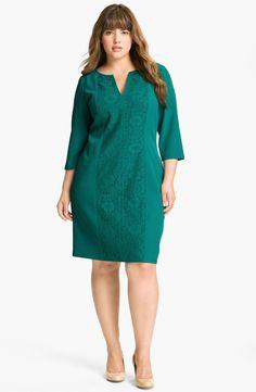 Adrianna Papell Crochet Detail Sheath Dress (Plus) Big Size Dress, Plus Size Dresses, Plus Size Outfits, Dresses For Work, Curvy Fashion, Plus Size Fashion, Sheath Dress, Dress Skirt, Casual Dresses