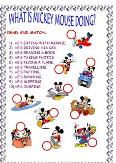mickey mouse printable games   ... CONTINUOUS worksheet - Free ESL printable worksheets made by teachers