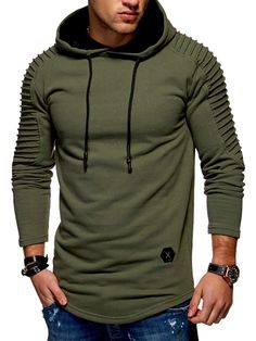 Solid Pleated Sleeve Patch Detail Long Fleece Hoodie - Army Green L Fall Casual Hoodie Sweatshirts, Pullover Hoodie, Fleece Hoodie, Hoodie Jacket, Mens Fleece, Long Hoodie, Outfit Jeans, Hoodie Outfit, Hoodie Dress