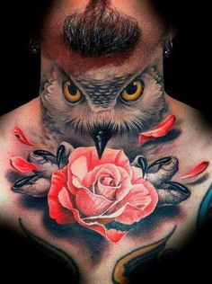Phenomenal owl neck piece #owl #tattoo