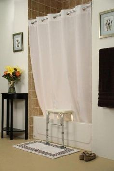 Simplicity Transfer Bench Shower Curtain Provides A Functional And Safety White TheWrightStuffInc Ikea Hacks