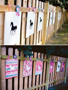 Birthday party activity. Paint then peel off the horse silhouette. This could be done with a different theme/silhouette as well.