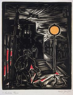 OSWALDO GOELDI  O Ladrão (The Thief) (wood engraving, 1955)