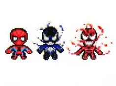 DeviantArt: More Like Spiderman, Venom and Carnage Perler Sprites by ShowMeYourBits Perler Beads, Fuse Beads, Spiderman 4, Marvel Cross Stitch, Sprites, Crafty Craft, Venom, Pixel Art, Marvel Comics