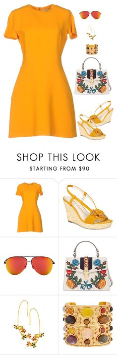 """""""Golden Girl"""" by stacy-hardy ❤ liked on Polyvore featuring Victoria Beckham, Anne Klein, Gucci and Sylvia Toledano"""