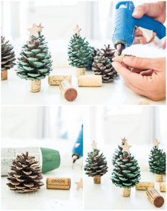 Pine cone tree: various ideas to embellish Christmas like DIY! - DIY Christmas 2018 pine cone tree mini version with decorative cork stopper - Merry Christmas, Christmas Time, Christmas Crafts, Christmas Decorations, Xmas, Christmas Ornaments, Retro Industrial, Pine Cone Tree, Deco Table Noel