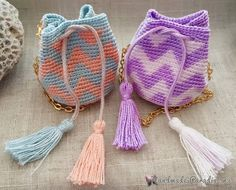 """The location where building and construction meets style, beaded crochet is the act of using beads to decorate crocheted products. """"Crochet"""" is derived fro Crochet Coin Purse, Free Crochet Bag, Crochet Pouch, Crochet Keychain, Bead Crochet, Crochet Gifts, Cute Crochet, Crochet Motif, Crochet Patterns"""