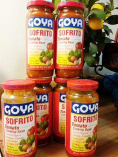 Goya Sofrito. (this is my current stash. Can you tell i love it???) The most awesome flavoring for cooking spanish food, especially beans. It is a tomato base with onions, green peppers, garlic, cilantro, and olive oil. So good!