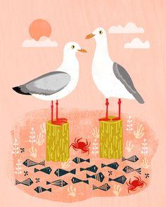 Seagulls - Bird Art, Coastal Nautical Summer Bird Print by Andrea Lauren Art Print by andrealaurendesign Bird Prints, Wall Art Prints, Beach Illustration, Art Folder, Fabric Stamping, Artist Sketchbook, Popular Art, Andrea Lauren, Retro Art