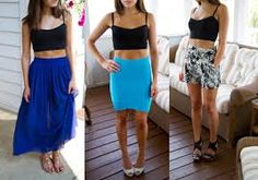 Image result for high waisted skirt with crop top