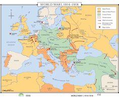 World History Wall Maps - World War I 1914-1918