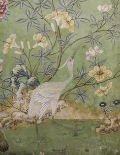 Detail of the Chinese wallpaper in the state bedroom, installed in the ©NTPL/John Hammond Antique Wallpaper, Hand Painted Wallpaper, Chinoiserie Wallpaper, Chinoiserie Chic, Fabric Wallpaper, Wall Wallpaper, Painted Walls, Painted Paper, Chinese Wallpaper
