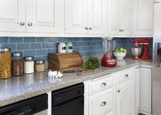 Renters Solutions: Install a Removable Backsplash from Apartment Therapy. Removable Backsplash, Install Backsplash, Kitchen Backsplash, Kitchen Cabinets, Backsplash Ideas, Blue Backsplash, White Cabinets, Travertine Backsplash, Beadboard Backsplash