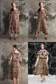Batik Amarillis's Joyjoy jumper dress/ jumpsuit  It's freesize, fun, comfy and relaxed outfit! It features raglan sleeves , drawstring waistband and smart buttons at the hem/ crotch so you can style it as jumper dress or jumpsuit!