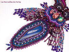 """Collier brodé """"Esméralda"""" belle agate. Vous pouvez le voir sur :  http://lesmerveillespat.canalblog.com/ http://www.alittlemarket.com/boutique/les_merveilles_de_perles-805099.html"""