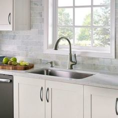 Pfister Pasadena Single-Handle Pull-Down Sprayer Kitchen Faucet with Soap Dispenser in Slate-F-529-PDSL at The Home Depot