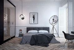 Home & Apartment, Amazing Apartment Bedroom Art With Fortuny Floor Lamp By Pallucco Also Mid Century Eames Grey DAW Chair Plus Chevron Wood Floor As Well As Funky Globe Hanging Lighting Bedside: Amazing Modern Apartment Design Collections Interior Simple, Diy Interior, Apartment Interior, Interior Architecture, Russian Architecture, White Apartment, Minimalist Apartment, Minimalist Bedroom, Studio Apartment
