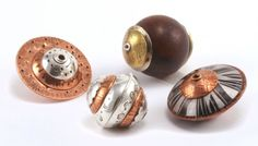 Dapped, capped and riveted beads - Kate Richbourg Enamel Jewelry, Metal Jewelry, Jewelry Art, Beaded Jewelry, Jewelry Ideas, Jewelry Design, Handmade Beads, Handcrafted Jewelry, Jewelry Making Classes