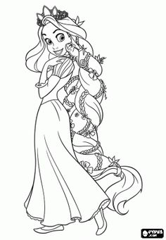 Rapunzel with the princess crown on her head and her long golden hair adorned with flowers coloring page