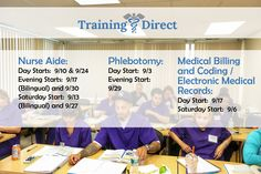 Check out the latest class schedule for the fall! #TrainingDirect #CNA #Phlebotomy #MBC #EMR