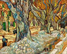 Vincent van Gogh - The Large Plane Trees (Road Menders at Saint-Remy), 1889 (Cleveland Museum of Art) Van Gogh: Up Close at Philadelphia Museum of Art Also viewed at Van Gogh Repetitions Exhibit - Phillips Collection Art Gallery Washington DC Art Van, Van Gogh Art, Vincent Van Gogh, Cleveland Museum Of Art, Philadelphia Museum Of Art, Cleveland Ohio, Desenhos Van Gogh, Van Gogh Pinturas, Van Gogh Paintings