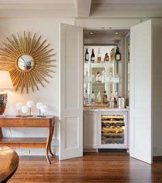 Crisp Traditional - traditional - family room - san francisco - Sutro Architects    Like idea for shelving in living room beside kitchen
