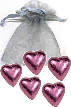 5-pc Chocolate Heart in Organza Bag