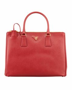 Saffiano Small Double-Zip Executive Tote Bag, Red by Prada at Bergdorf Goodman.