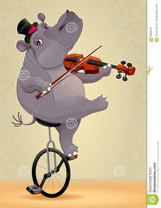 hippo illustrations | Funny Hippo On An Unicycle Stock Vector - Image: 69206107