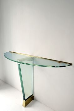Pietro Chiesa; Glass and Brass Console Table for Fontana Arte, 1946.