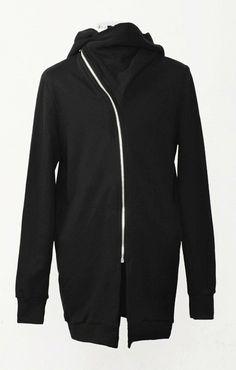 Oversized Sweat Dress // Asymmetryc Zip-up Cut Extravagant Hoodded Coat on Etsy, $69.00