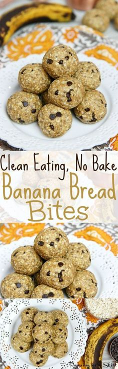 Clean Eating No Bake Banana Bread Bites recipe with chocolate chips! With peanu. , Clean Eating No Bake Banana Bread Bites recipe with chocolate chips! With peanu. Clean Eating No Bake Banana Bread Bites recipe with chocolate chips. Whole Foods, Whole Food Recipes, Cooking Recipes, Weight Watcher Desserts, Clean Eating Desserts, Healthy Eating Habits, Eating Paleo, Healthy Sweets, Healthy Snacks