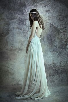 I love this-so elegant and chic! Silk chiffon and lace backless gown  Annelise by Leanimal on Etsy