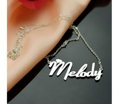 Personalized Fiolex Girls Script Name Necklace in Solid White Gold Melody WGF9