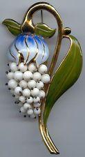 TARA WARE VINTAGE LARGE DIMENSIONAL STERLING & GLASS BEADS ENAMEL FLOWER PIN
