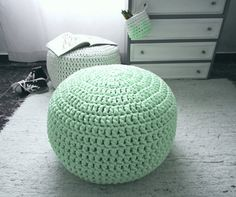 Light Mint Furniture Ottoman Pouf Light Mint Green by LoopingHome
