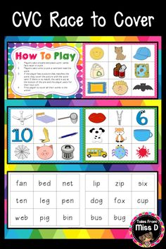 In this CVC Word Game, students pick a card, read the word and see if they have a match on their board. If they have a match, they cover the picture with the word card. If there is no match, the card is placed at the bottom of the pile. The first player to cover all their pictures is the winner. © Tales From Miss D