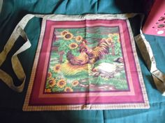 Apron Sunflowers and Chickens Half Apron Reversible