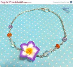 $20.00 Purple Plumeria Anklet - Hawaiian jewelry, tropical flower ankle bracelet for beach brides & mermaids
