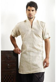Cream Linen Readymade Kurta