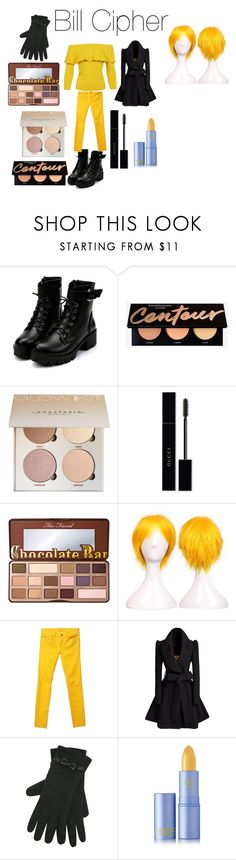 """""""Bill Cipher from Disney's Gravity Falls"""" by tori-camilleri on Polyvore featuring Gucci, Too Faced Cosmetics, 7 For All Mankind, M&Co, Lipstick Queen and Sans Souci"""