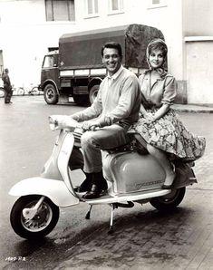"""Gina Lollobrigida and Rock Hudson with a Lambretta - """"Come September"""" Moto Scooter, Lambretta Scooter, Vintage Vespa, Gina Lollobrigida, Vespa Girl, Scooter Girl, Classic Movie Stars, Classic Movies, Vespa Motor Scooters"""