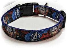 Comic Book Hero / Thor / Blue Nylon / Grosgrain Ribbon / Adjustable Dog Collar / Medium Dog Collar / Male Dog Collar / Avenger / Asgard by SparklePupBoutique on Etsy