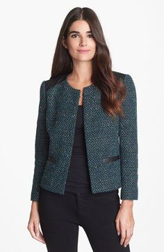 Classiques Entier® 'Marble Tweed' Leather Trim Jacket available at #Nordstrom