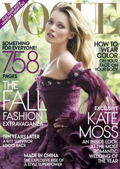 I LOVE the dress Kate Moss is wearing on the cover of the September 2011 issue of Vogue! I want to figure out how to make a dress similar in fabric in this color. :)