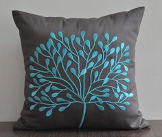 "Teal Borneo Tree Throw Pillow Cover by Kainkain, 18"" x 18"" Deep Dark Brown Linen with Turquoise Tree Embroidery, $22"